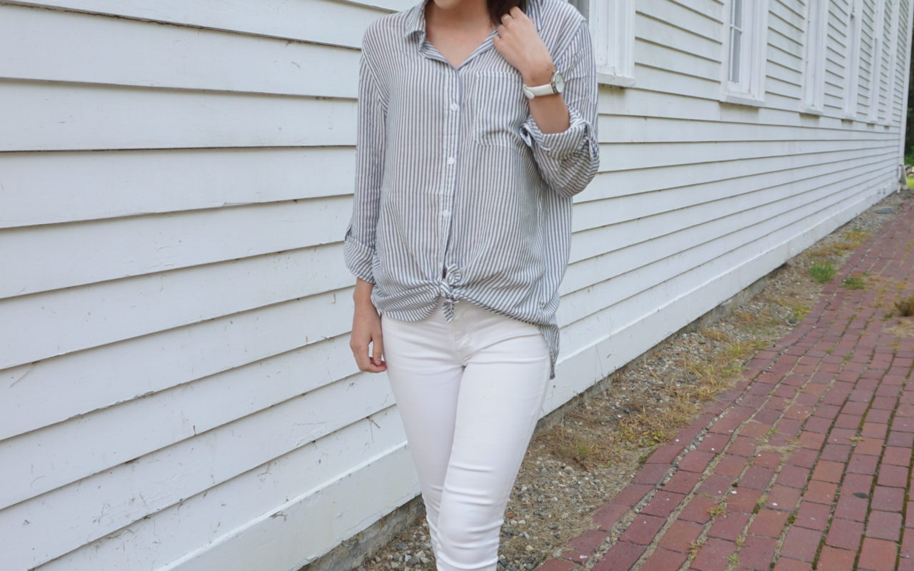 Blue and White Striped Shirt : OOTD