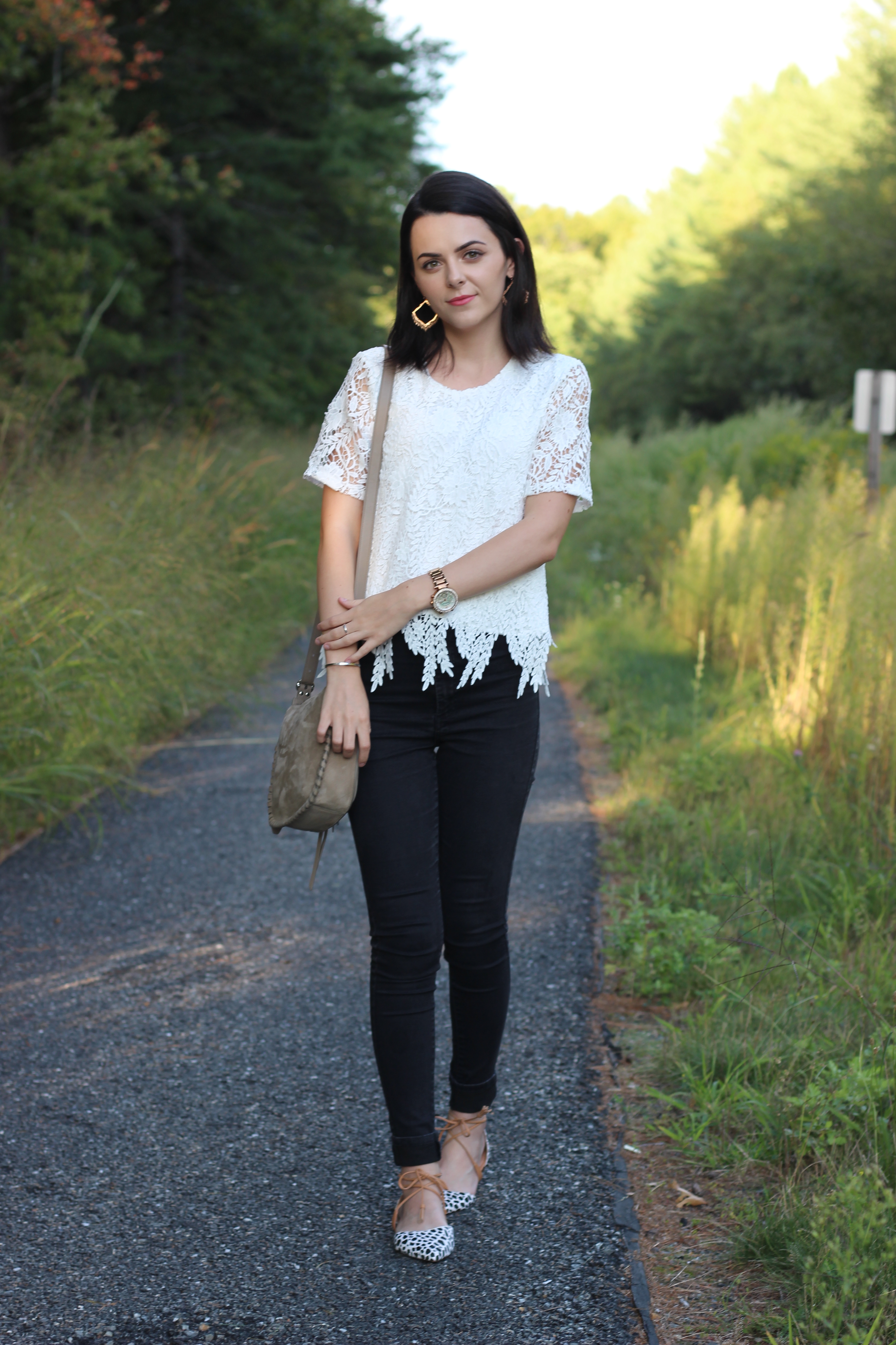 Lace Top + Giraffe Printed Flats : OOTD