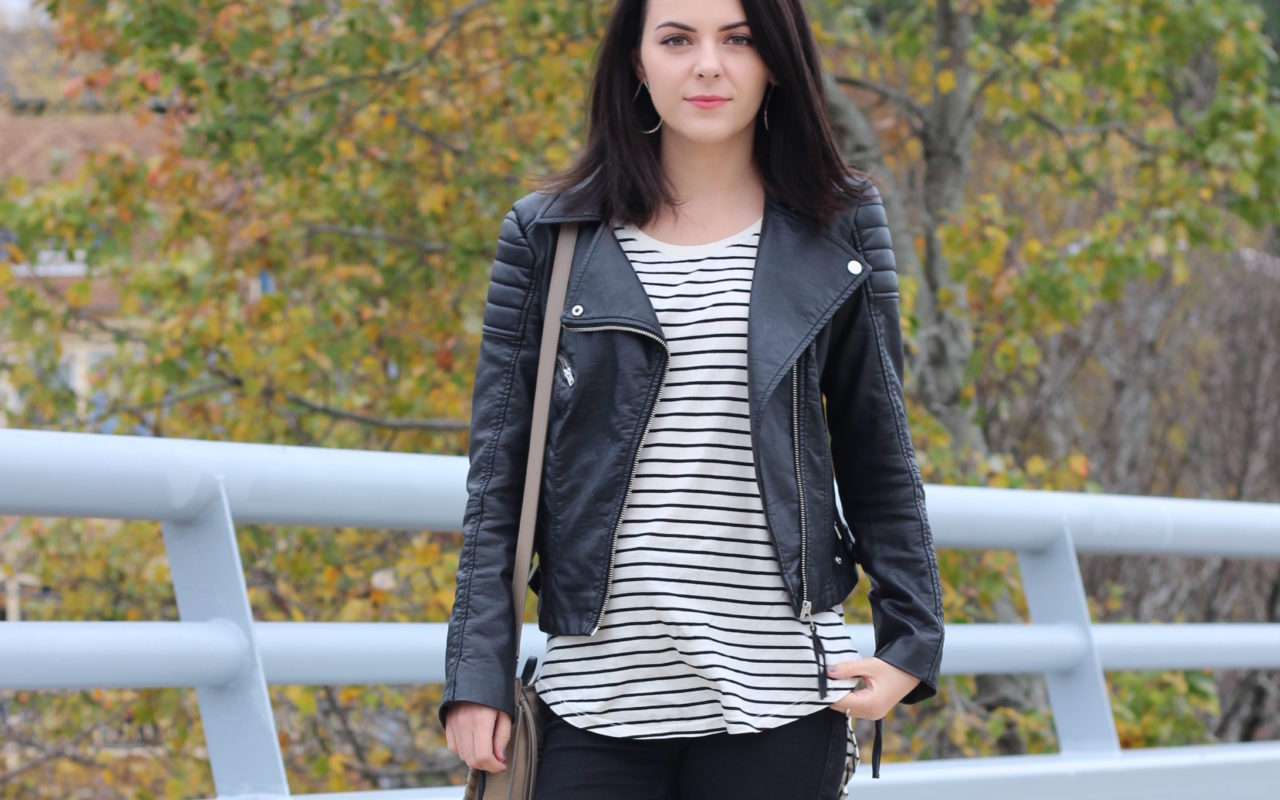 Striped Shirt + Leather Jacket : OOTD