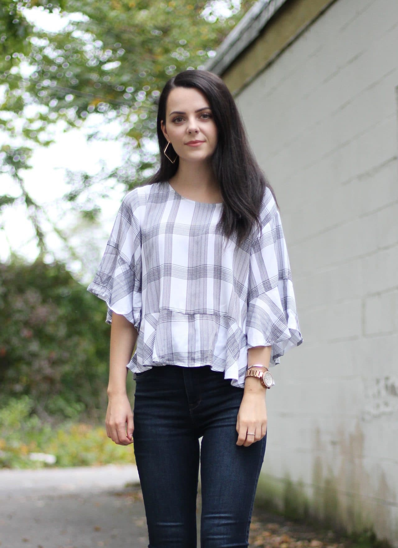Plaid Top + Jeans : OOTD
